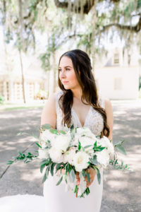 white and blush wedding bouquet