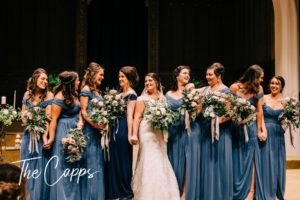 dusty blue bridesmaid flowers
